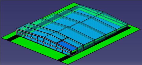 Model F low profile pool enclosure