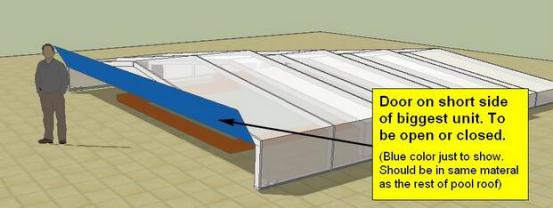 door type of a swimming pool enclosure