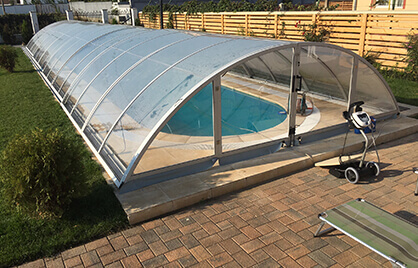 A fully maintained swimming pool enclosure