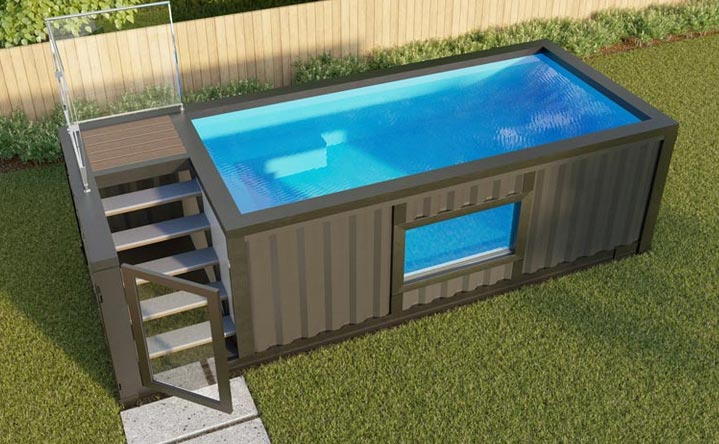 shipping container pool the ultimate buying guide excelite pool. Black Bedroom Furniture Sets. Home Design Ideas