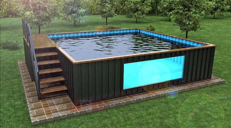 shipping container pool the ultimate buying guide. Black Bedroom Furniture Sets. Home Design Ideas